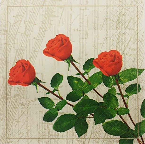 מפיות נייר  איכותיות - שלושה ורדים אדומים
