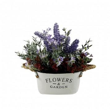 אדנית פח עגולה עם סידור פרחים