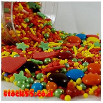 מיקס סוכריות  120 גרם - אדום כחול ירוק צהוב
