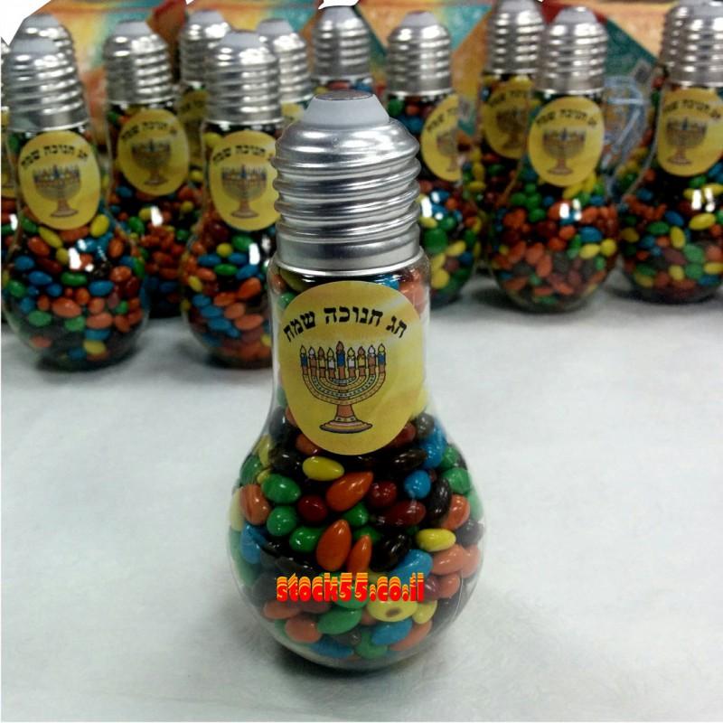 מנורה במילוי סוכריות עדשים לחנוכה