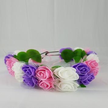 זר לראש שזור פרחי סול  לימי הולדת בגווני וורוד סגול לבן