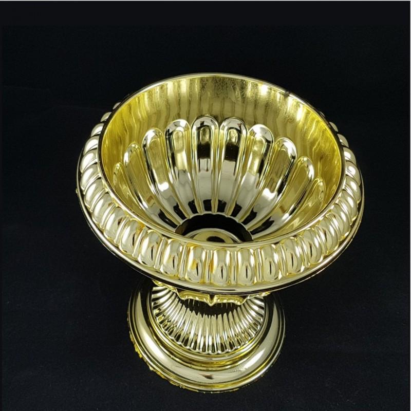 צלחת על רגל דגם גביע רומי זהב, כלי הגשה מהודר לטקסי החינה וחגיגיות המימונה