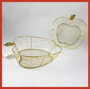 קערת מתכת רשת זהב בצורת תפוח