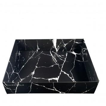 קופסה עם מכסה שקוף גודל A3 - שיש שחור