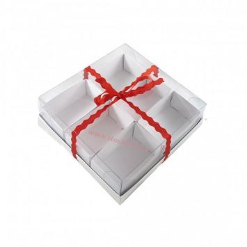 קופסה מרובעת עם מכסה שקוף המחולקת ל 6 תאים