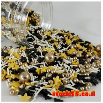 מיקס סוכריות אלגנטי שחור זהב לבן