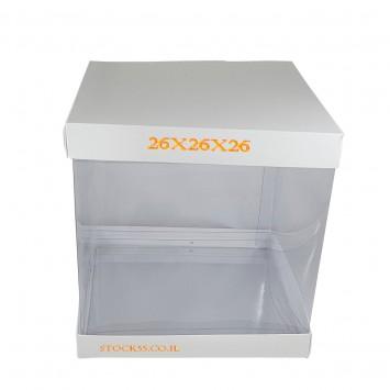 קופסה עם מכסה שקוף לעוגת גבוהה