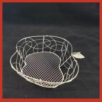 קערת מתכת רשת כסף  בצורת תפוח