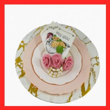 סט מושלם - צלחות בסיס , צלחות מנה עיקרית, צלחות מנה ראשונה,, מפיות, חבק מפיות , 3 גבעולי פרחים