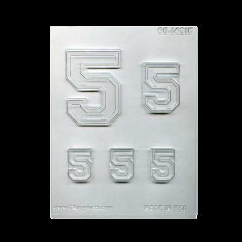 תבנית ליציקת שוקולד ספרה 5 תאים  * חברת סי אנד בי C&B