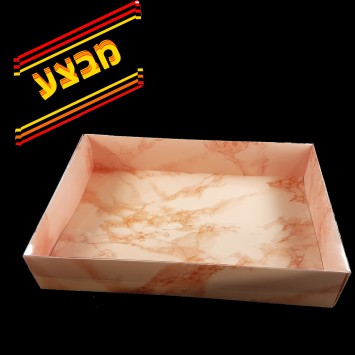 קופסה A3 שיש ורוד עם מכסה שקוף