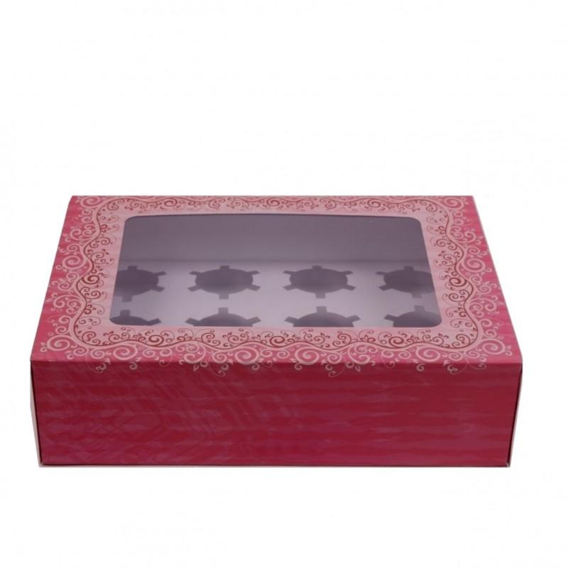 קופסה עם במה חכמה  ל 12 קאפקייקס גדולים /קטנים