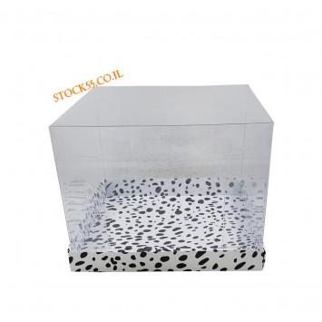 קופסה שקופה לעוגה 26X26X20 מנומרת