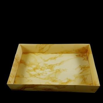 קופסה עם מכסה שקוף גודל A3 - שיש זהב