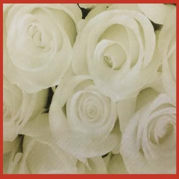 מפיות נייר  איכותיות - ורדים לבנים