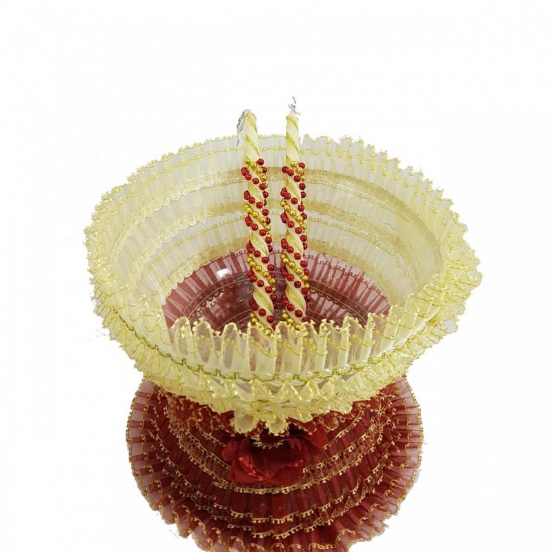 קערת חינה בורדו זהב וזוג נרות תואמים לטקס החינה