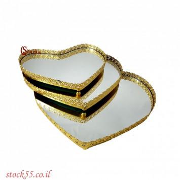 סט מגשי לב מראה  זהב