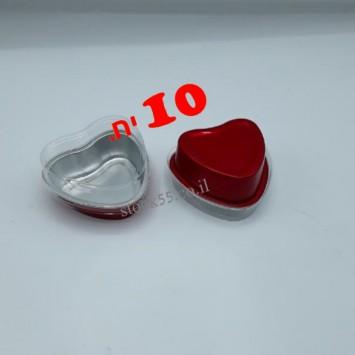 10 תבניות אלומיניום לב עם מכסה 71 מ
