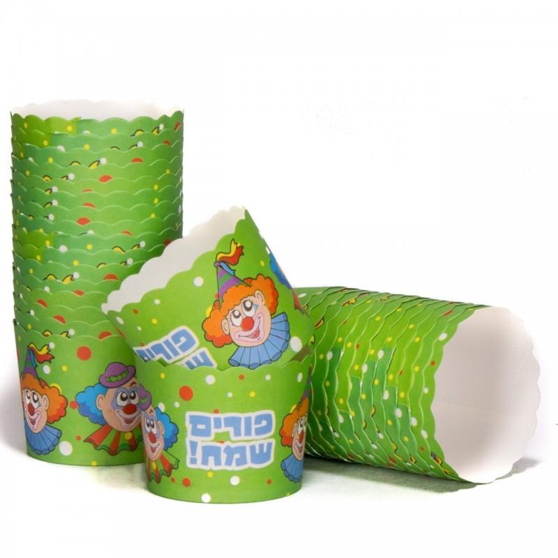 קאפקייקס קרטון לאפיה - דגם ליצן פורים  * צבע ירוק
